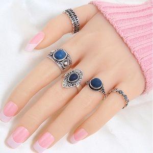 Silver Blue Gems Ring Set